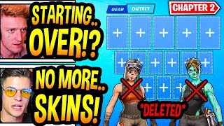"""Streamers React To ALL """"SKINS"""" & """"EMOTES"""" *DELETED* In Fortnite Chapter 2! (HEARTBROKEN..)"""