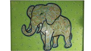 Картинка на стену. Слон в точечной росписи. Мастер класс.