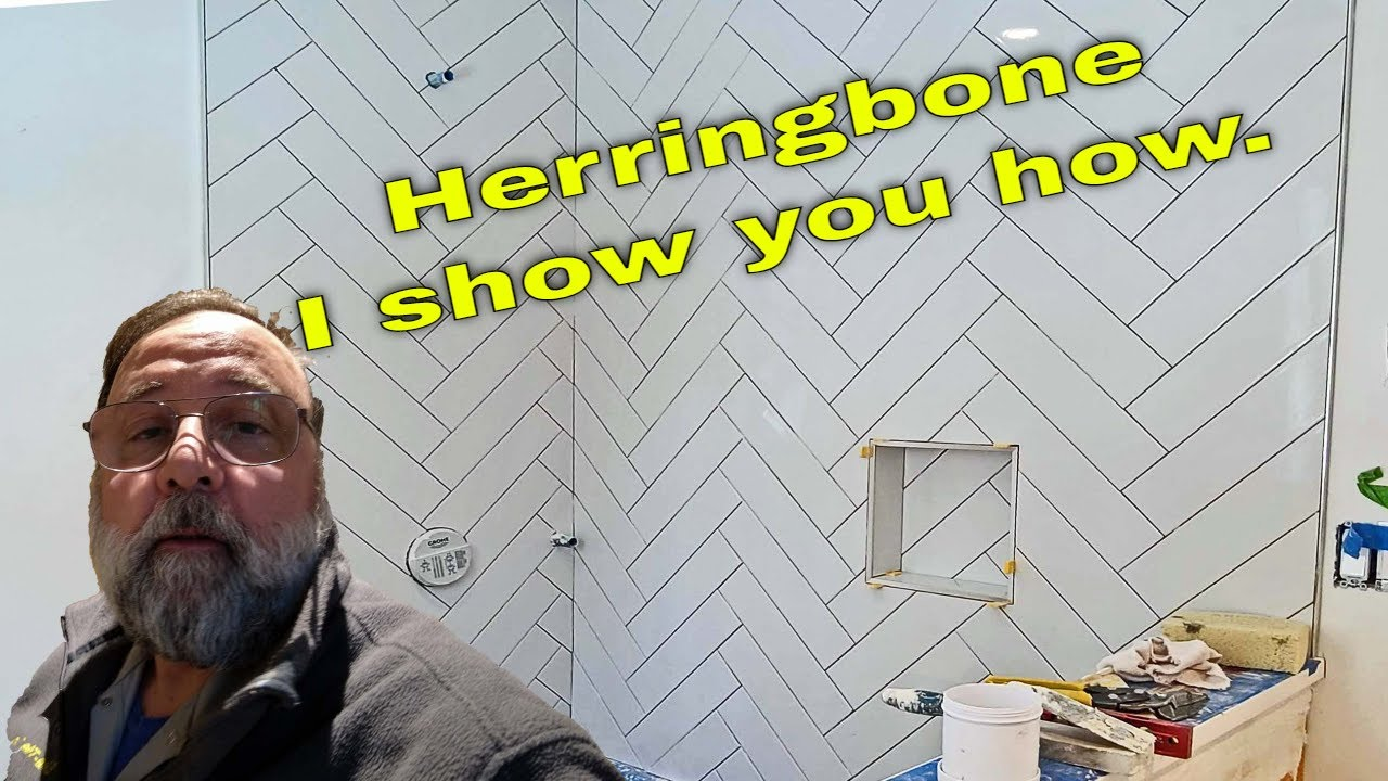 how to install herringbone subway tile in a shower