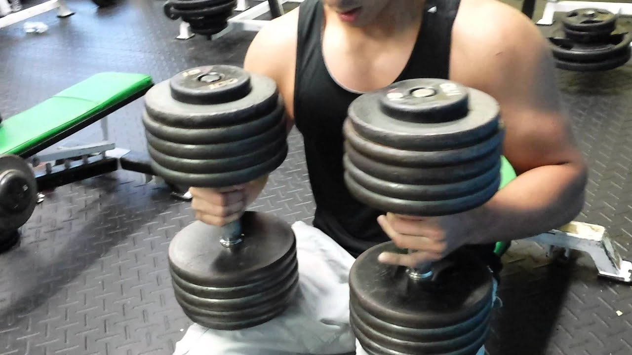 16 Year 100 Lbs Dumbbell Press