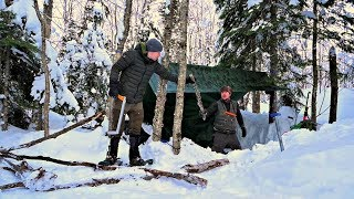 Winter Emergency Snowshoe Camp-DUAL SURVIVAL SHELTER -20c CANADIAN WILDERNESS