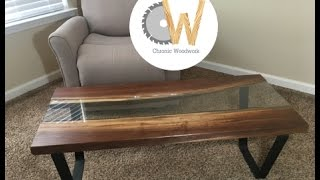 How to Build a Live Edge River Table with glass