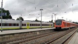 Günzburg mit ICEs, ICs/EC (+CH Werbelok), Regionalzüge (DB und agilis ET 440)