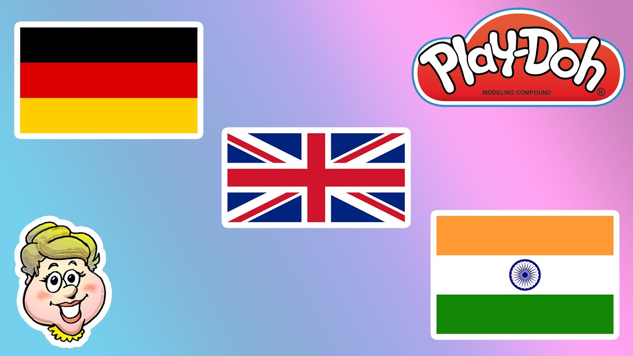play doh flags of uk india and germany how do you say hello