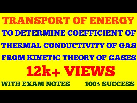 TRANSPORT OF ENERGY || COEFFICIENT OF THERMAL CONDUCTIVITY OF A GAS FROM KINETIC THEORY OF GASES ||