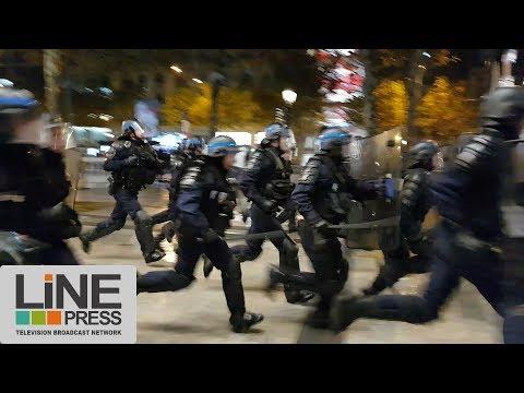 Mondial 2018. Maroc qualifié. Fête & incidents Champs Elysées / Paris - France 11 novembre 2017