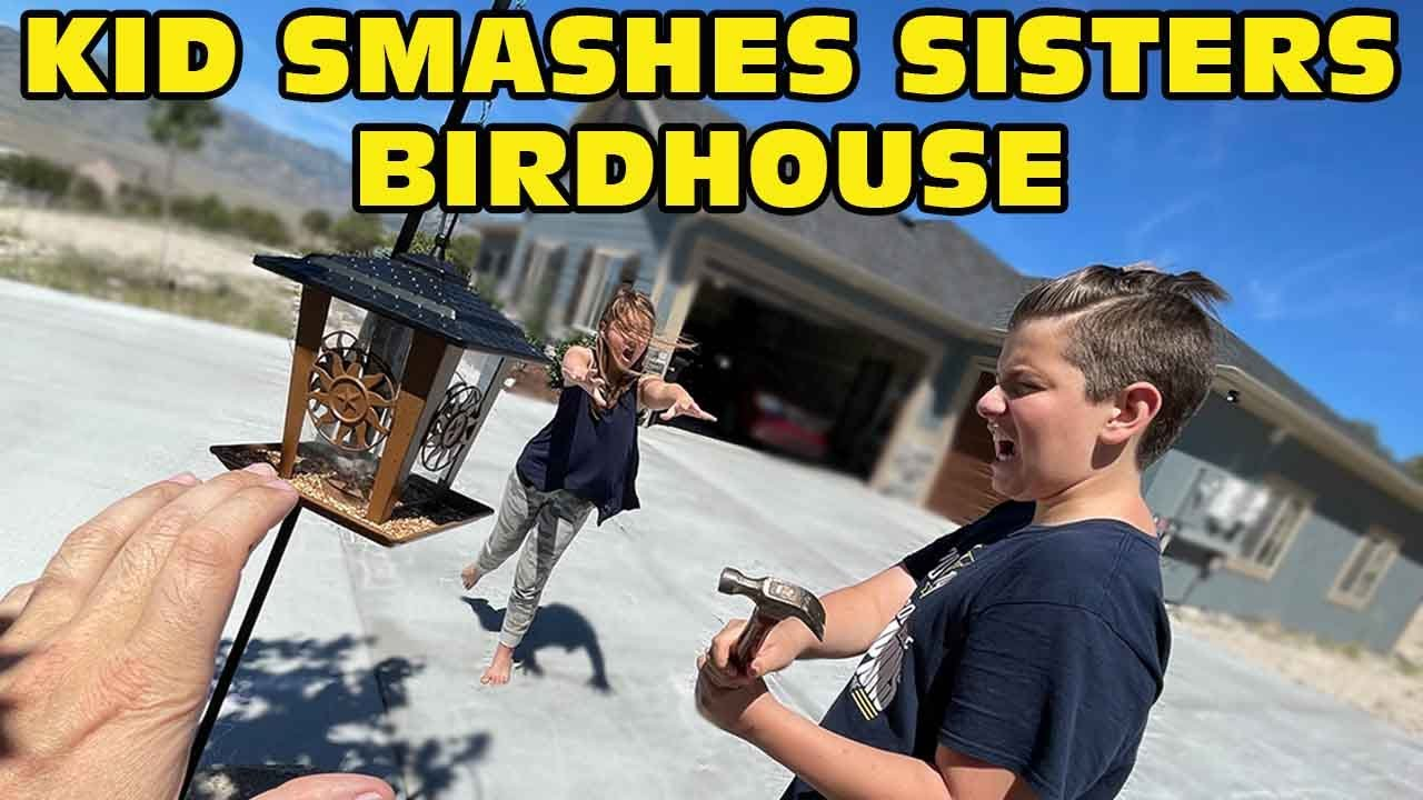 Kid Smashes Sister's NEW Birdhouse! - She Cries! [Original]