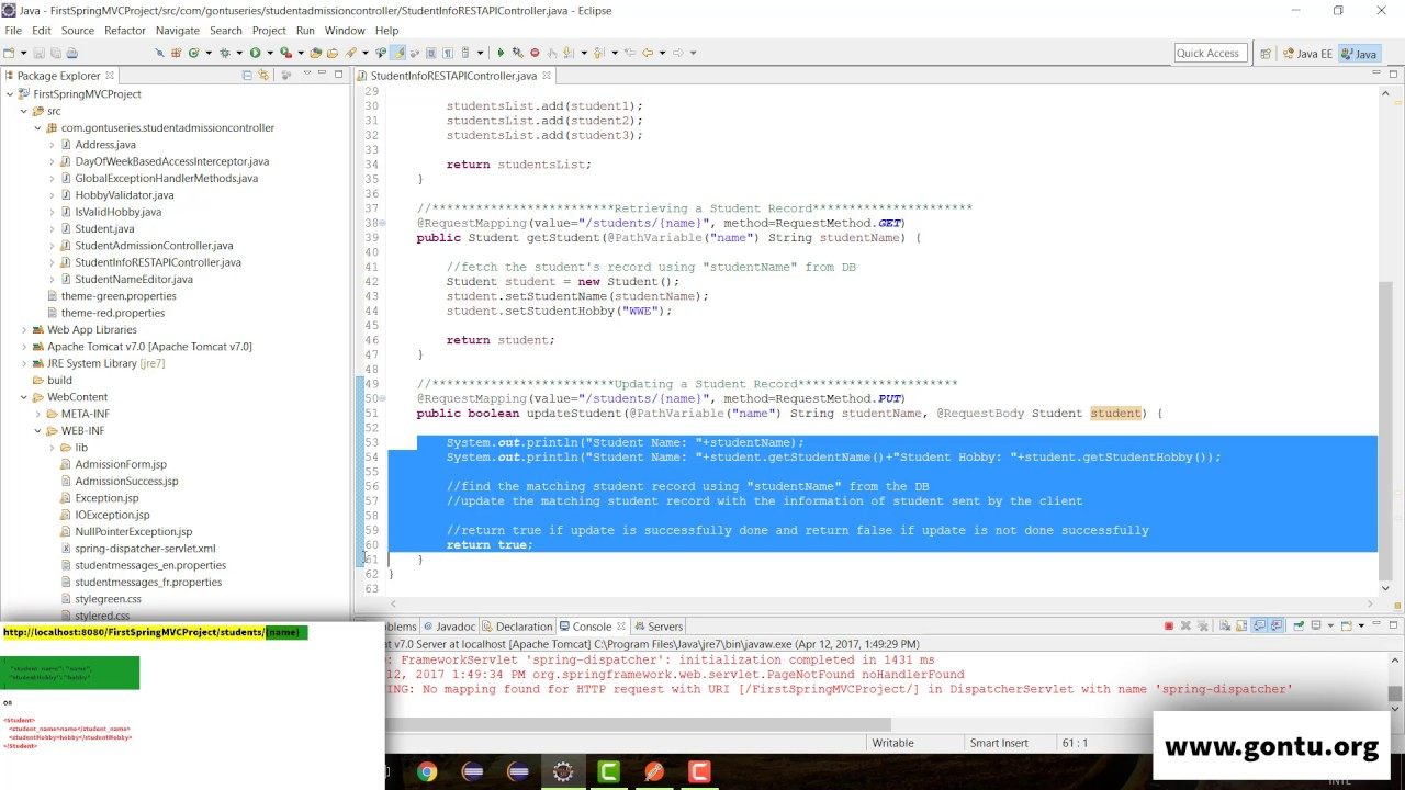 Spring MVC Tutorials 41 - Web Services 11 ( HTTP PUT, @RequestBody,  Content-Type 02)
