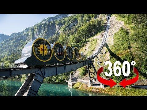 Fahre mit der steilsten Standseilbahn der Welt I 360-Grad-Video