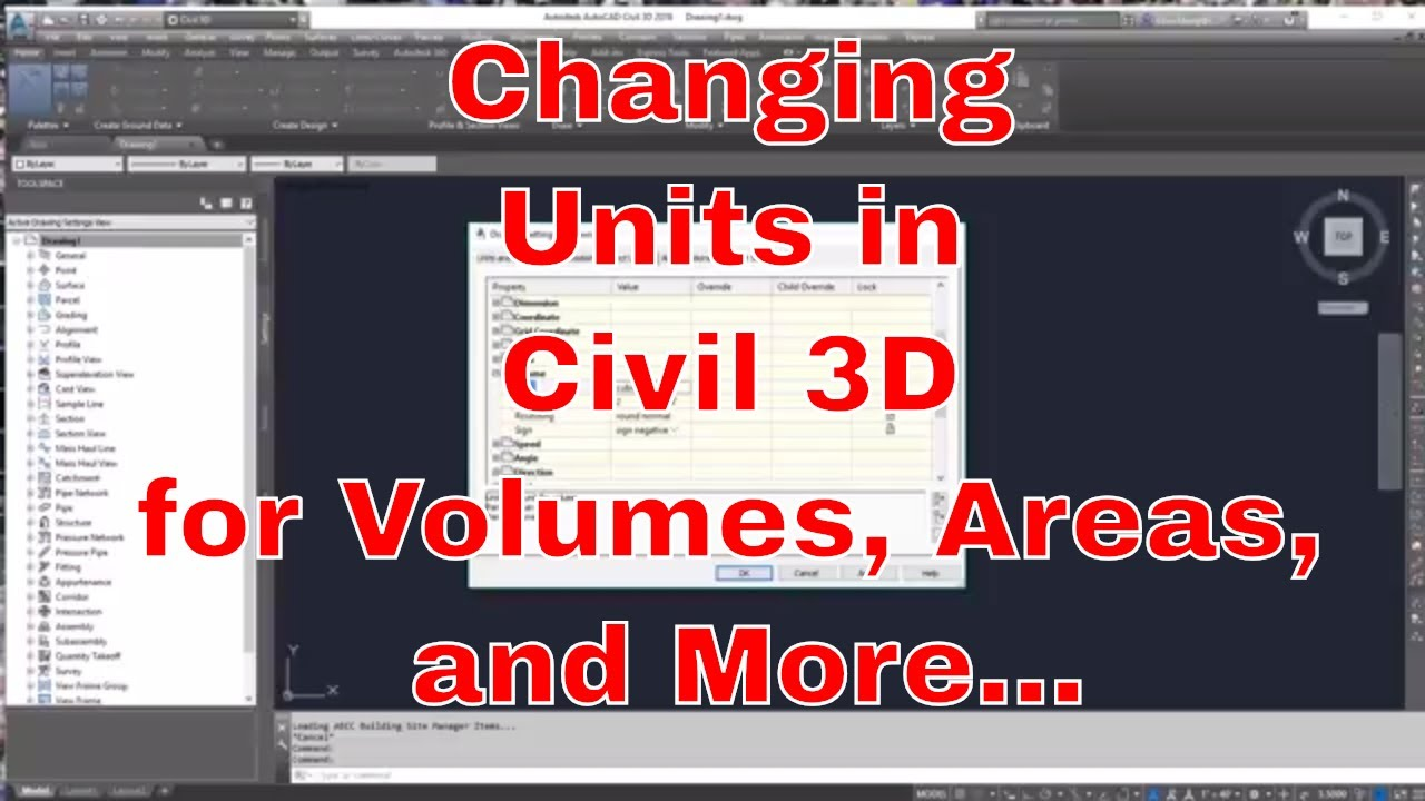 Changing units for Volume and Area in Civil 3D