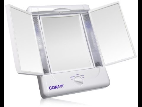 Illumina by Conair Collection Two Sided Lighted Makeup Mirror with 3 Panels and 4 Light Settings