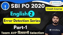 3:00 PM - SBI PO 2020 (Prelims) | English by Vishal Sir | Error Detection Series (Part-1)