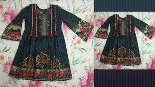 Ladies pleated frock style kurti cutting and stitching