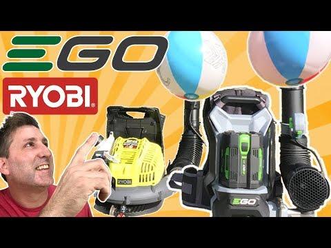 EGO Cordless vs RYOBI Gas -  Backpack Blower Baseball - BEST REVIEW