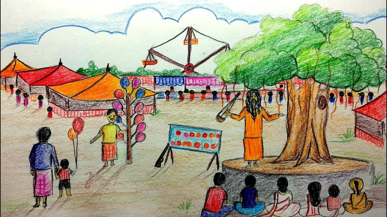 How To Draw A Scenery Of Pohela Boishakh Village Fair Drawing Step By Step