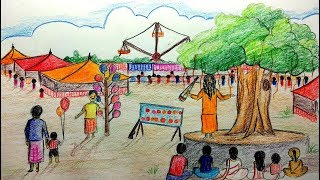 How to draw a scenery of pohela boishakh |  Village Fair Drawing step by step