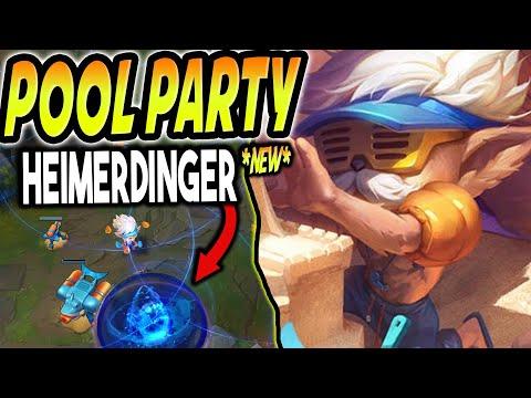 NEW POOL PARTY HEIMERDINGER SKIN LOOKS SO GOOD! Heimerdinger is SHREDDED!? - League of Legends