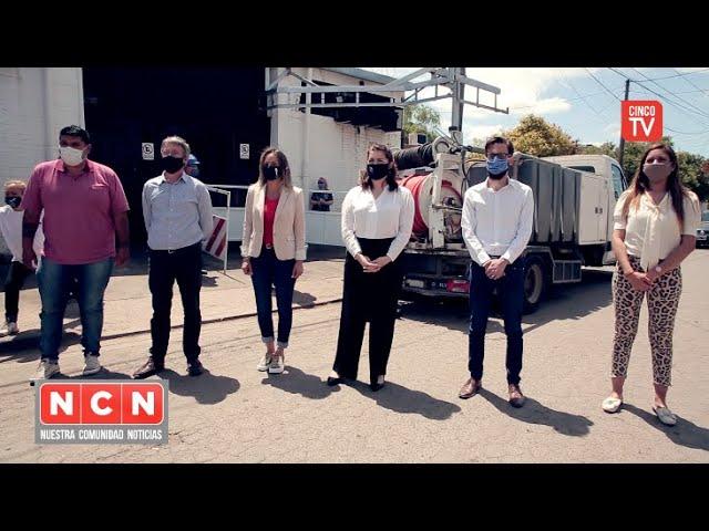 CINCO TV - Malena Galmarini, Agustín Simone y Mariel Fernández habilitaron obra cloacal en Moreno