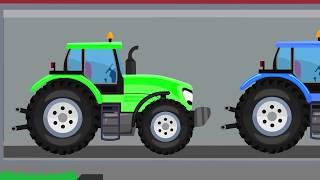Tractor Store - Agricultural Vehicles for Kids - Construction of a yellow tractor. Bajki Traktory
