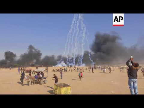 IDF drones fire tear gas, Palestinians burn tyres