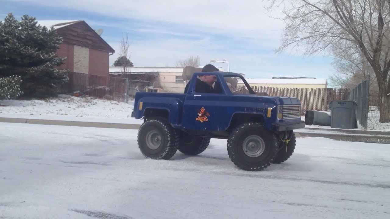 Mini Monster Truck Go Kart Playing In The Snow Youtube