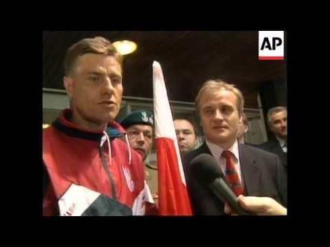 BELGIUM: POLISH AIRMAN CELEBRATES HIS COUNTRY'S ENTRY INTO NATO