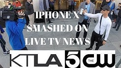 IPHONE X SMASHED ON LIVE TV NEWS @ APPLE STORE PASADENA LAUNCH DAY 11.03.17
