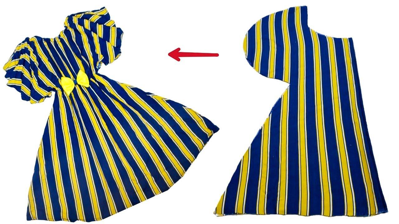 خياطة فستان و بطريقة قص بسيطة جدآ / اسهل طريقه خياطة و قص فستان في 8 دقائق فقط