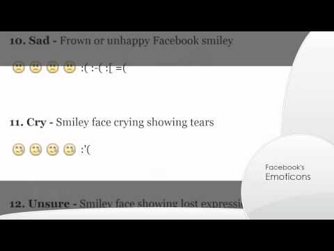 Facebook smiley & chat emoticons list