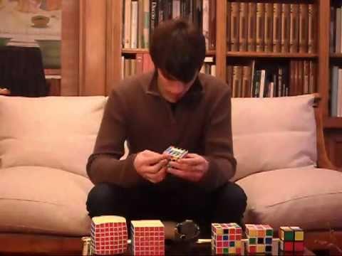 7x7-6x6-5x5-4x4-3x3-2x2 Rubik's cubes in a row - 28:58