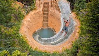 Build Underground Swimming Pool Water Slide Around Secret Underground House - Primitive Technology