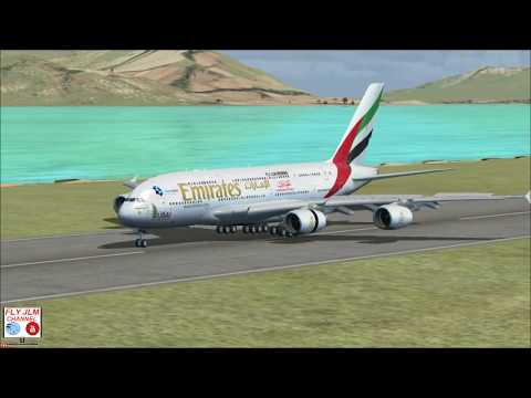 FSX Full flight ( crosswinds ) from Shangai to Hong Kong with Airbus A380 Emirates