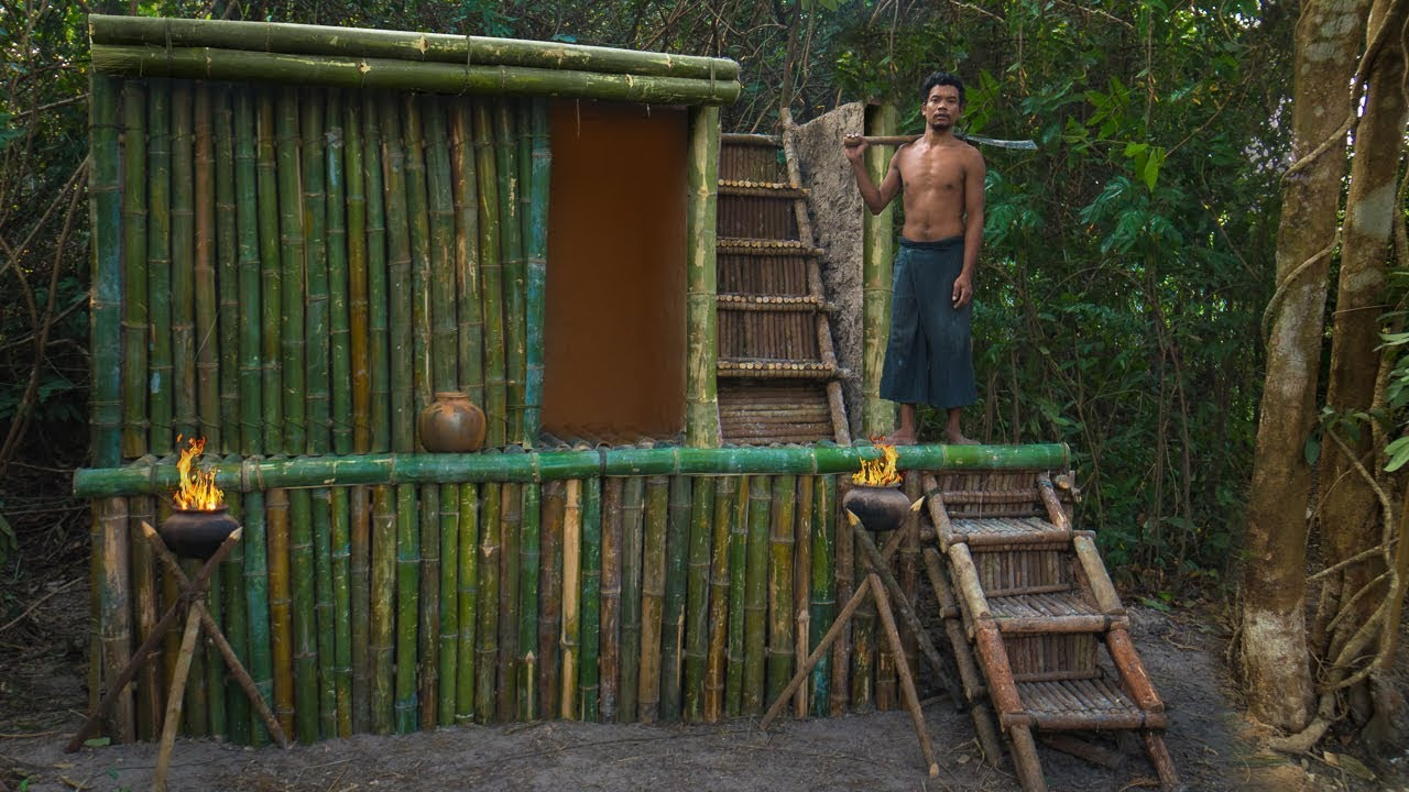 Build incredible Bamboo Mud Villa House in Deep Jungle without tool by Jungle Survival