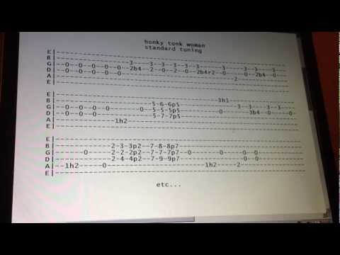 Rolling Stones honky tonk woman guitar lesson with tabs standard tuning