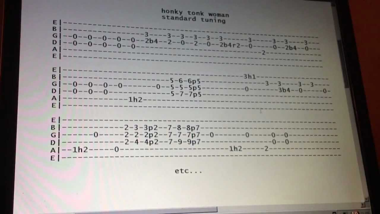 Rolling Stones honky tonk woman guitar lesson with tabs standard tuning - YouTube