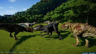2 Tyrannosaurus Rex vs 2 Spinosaurus vs 2 Indominus Rex vs 2 Giganotosaurus (1080p 60FPS)