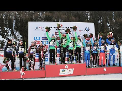 Victory Ceremony Mixed Staffel Hochfilzen / 09.02.2017