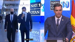 Pedro Sánchez tarda tres paseíllos en contar su conversación con Joe Biden