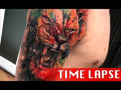 Watercolor lion - Tattoo time lapse