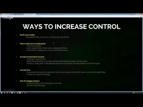 Greenbar Trading Weekly Webinar Series - Developing More Control in Your Trading