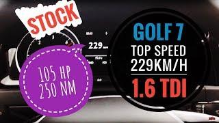 Volkswagen Golf MK7 1.6 TDI 105hp 230 km/h Top Speed Vmax