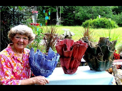 Portland Cement Red Sand Draped Flower Pots In Ga. U.S.A.