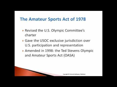 Ch. 12 governance Issues and regulation of participation in Olympic Sport