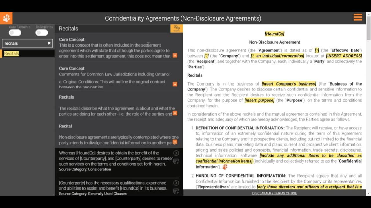 Drafting A Non Disclosure Agreement Recitals Youtube