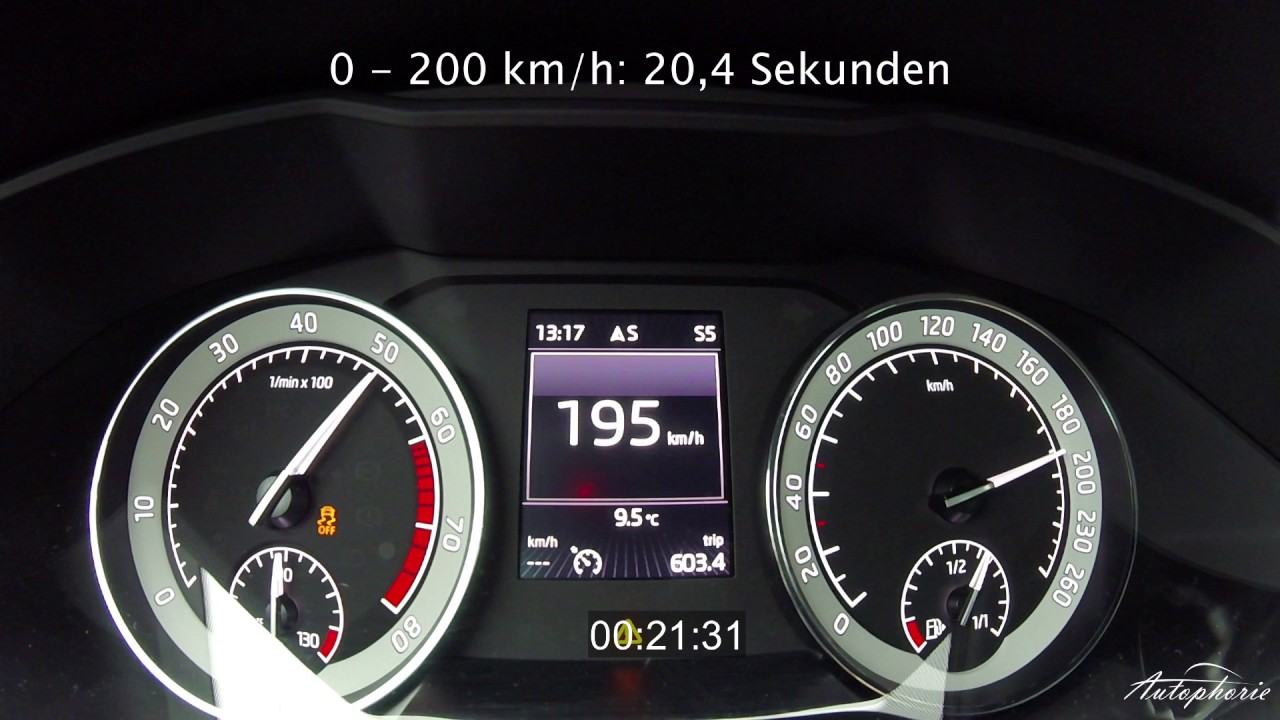 200 Kph To Mph >> Skoda Superb 2 0 Tsi 4x4 Dsg 280hp Acceleration 0 200 Kph 0 125 Mph Autophorie