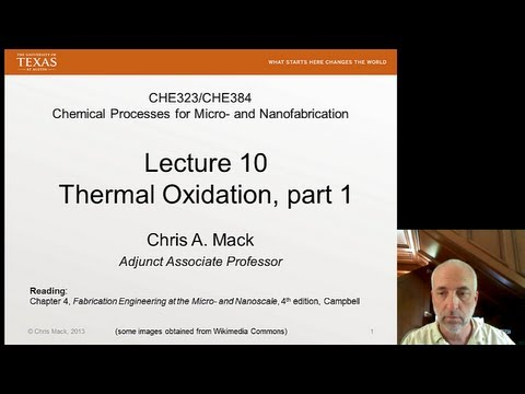 Lecture 10 (CHE 323) Thermal Oxidation, part 1