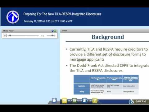 Preparing For The New TILA-RESPA Integrated Disclosures