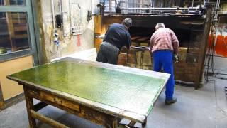 Rolled Table-Cathedral-Glass * Tischkathedralglas - Produktion ~ Glashuette Lamberts Waldsassen