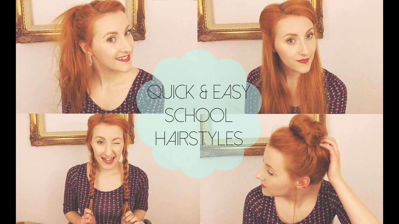 Quick &amp Easy Hairstyles for School/Work/Uni! - YouTube - Easy Hairstyles For School