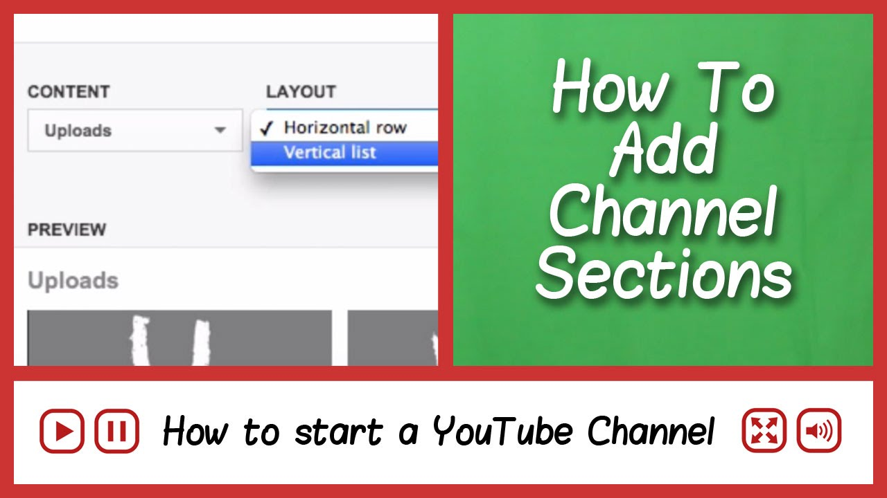 Add Sections to your YouTube Channel Page - How to start a YouTube channel  - FAQ Tube